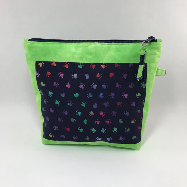 Colorful dog paws on navy:  Zippered Pouch