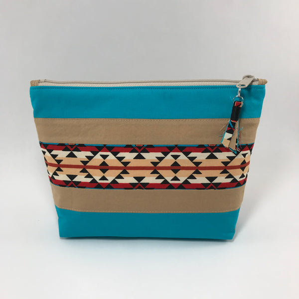 Teal South Western Look:  Zippered Pouch