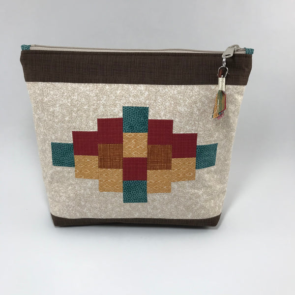 Cream and Brown with blocks:  Zippered Pouch