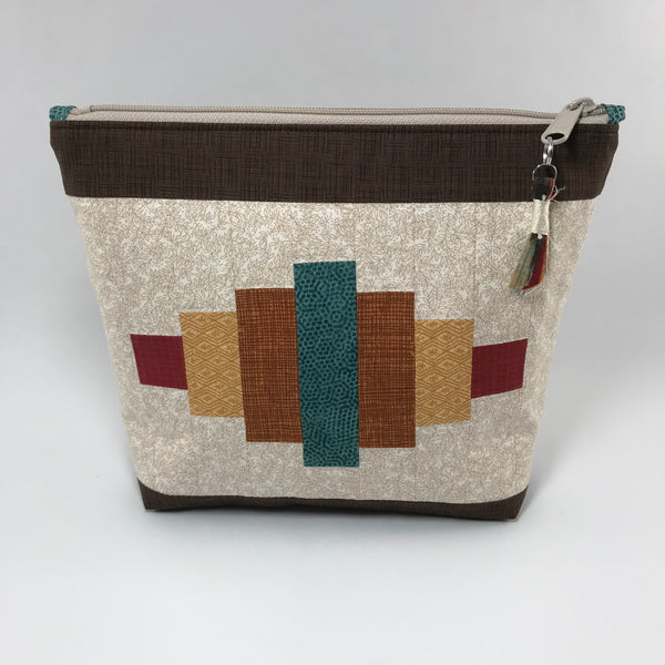 Cream and Brown with autum colors:  Zippered Pouch