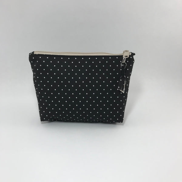 Black with tan dots:  Zippered Pouch
