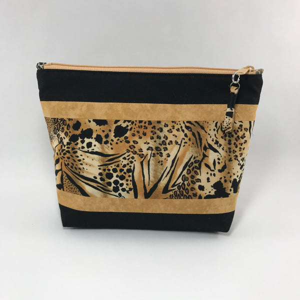 Animal print in gold and black:  Zippered Pouch