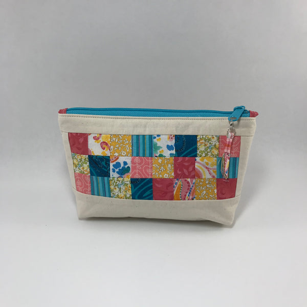 Colorful patch squares on cream:  Zippered Pouch