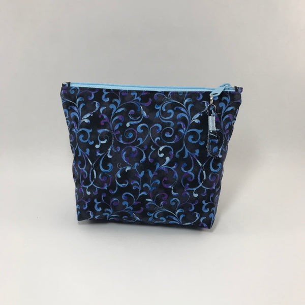 Blue vines on black:  Zippered Pouch