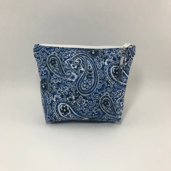 Blue paisley:  Zippered Pouch