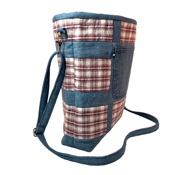 Market Tote: Cross-body, Eco-Chic Plaid Tote side view