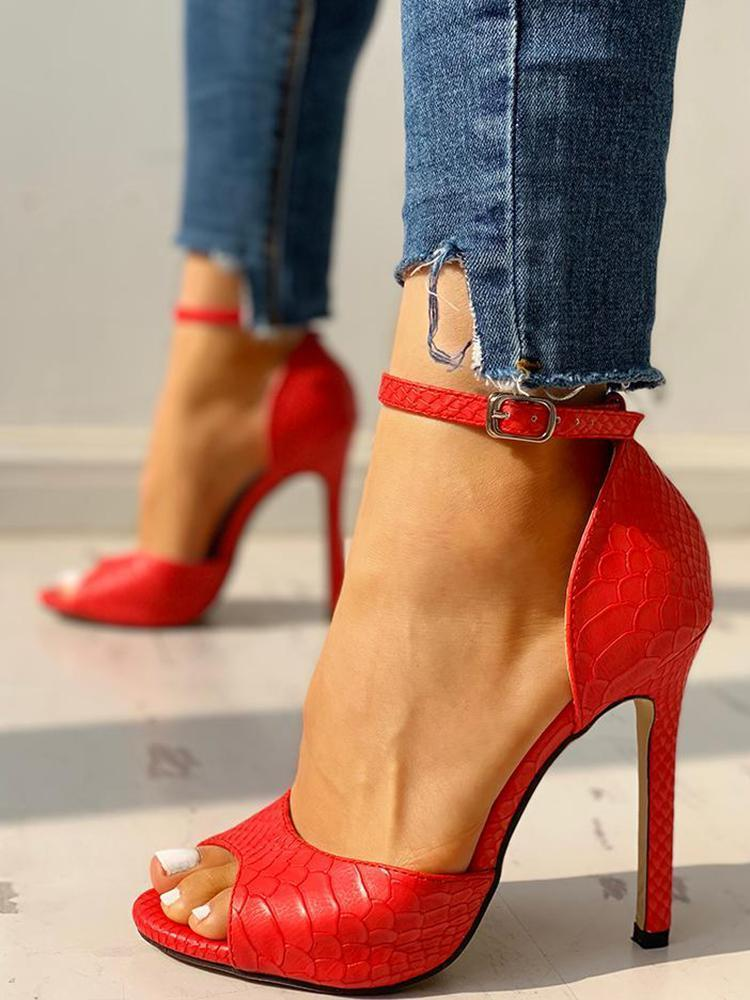 Ulterfashion Stiletto High Heels Ankle Strap Buckle Open Toe Sandals