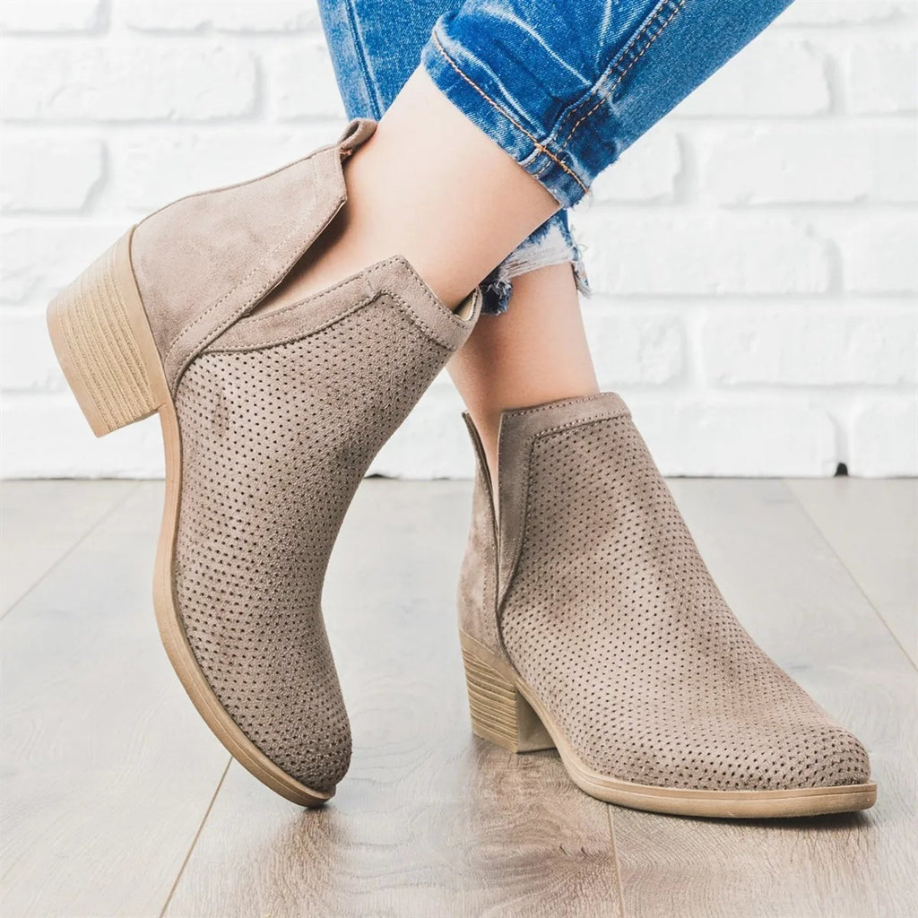 Ulterfashion Perforated Cut Out Ankle Boots