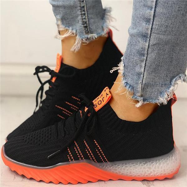 ulterfashion Colorblock Knitted Breathable Lace-Up Sneakers