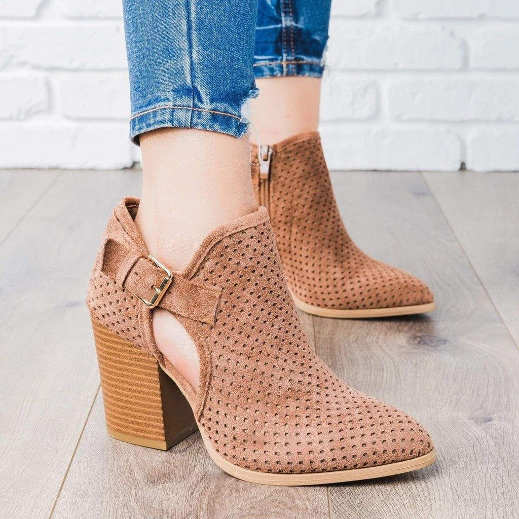 Ulterfashion Rivet Lace Up Ankle Booties