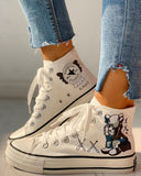 Ulterfashion Womens Lace Up High Top Canvas Shoes