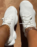 Ulterfashion Breathable Solid Color Elastic Cuff Lace-up Comfortable Sneakers