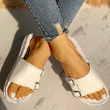 Ulterfashion Buckled Faux Leather Sides Comfort Slippers
