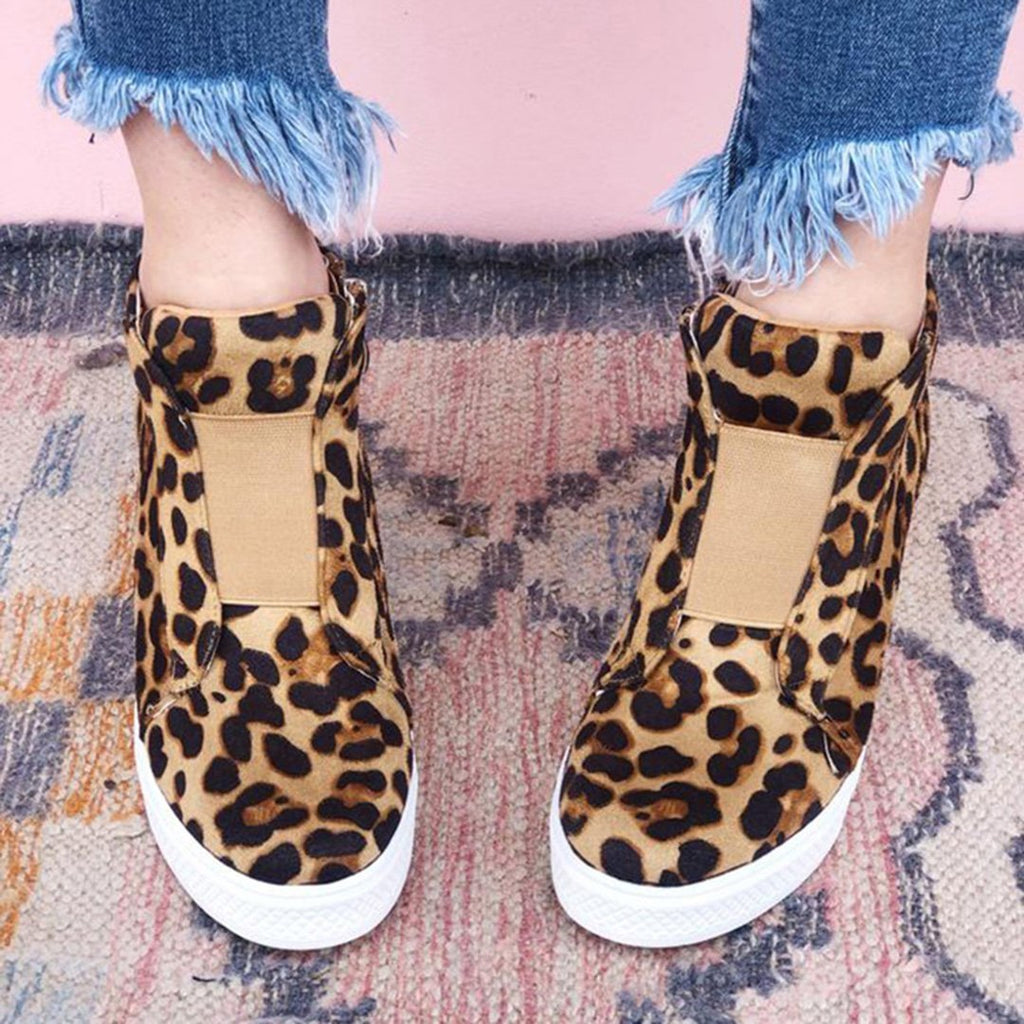 Leopard Wedge Platform Sneakers High Top Booties - Ulterfashion