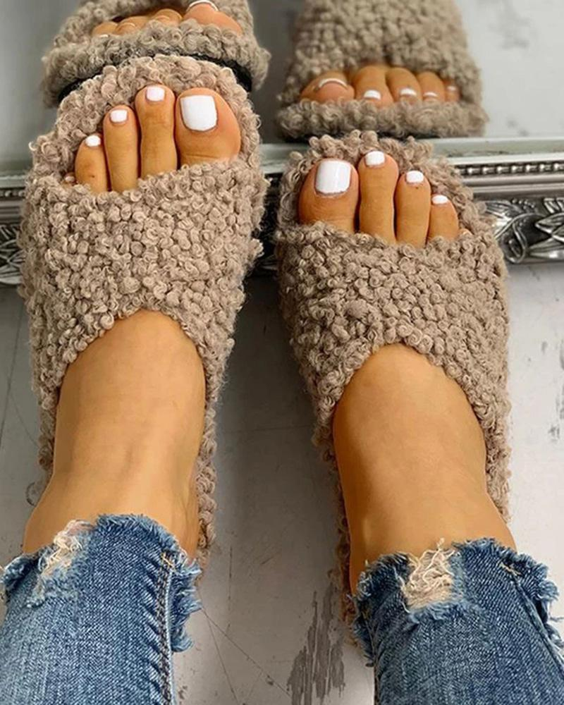Ulterfashion Fluffy Crisscross Design Solid Color Flat Slides