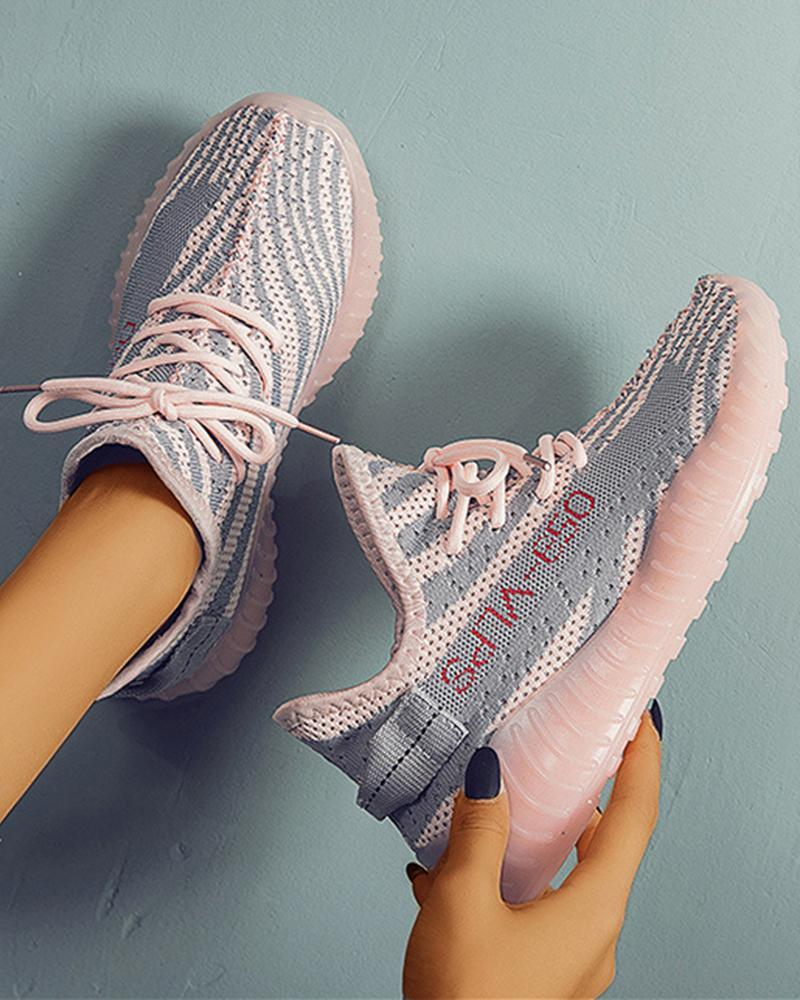 Ulterfashion Letter Printed Colorblock Yeezy Breathable Lace-up Sneakers