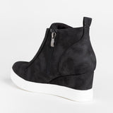 Ulterfashion Womens Wedge Platform Sneakers High Top Zipper Fashoin Booties