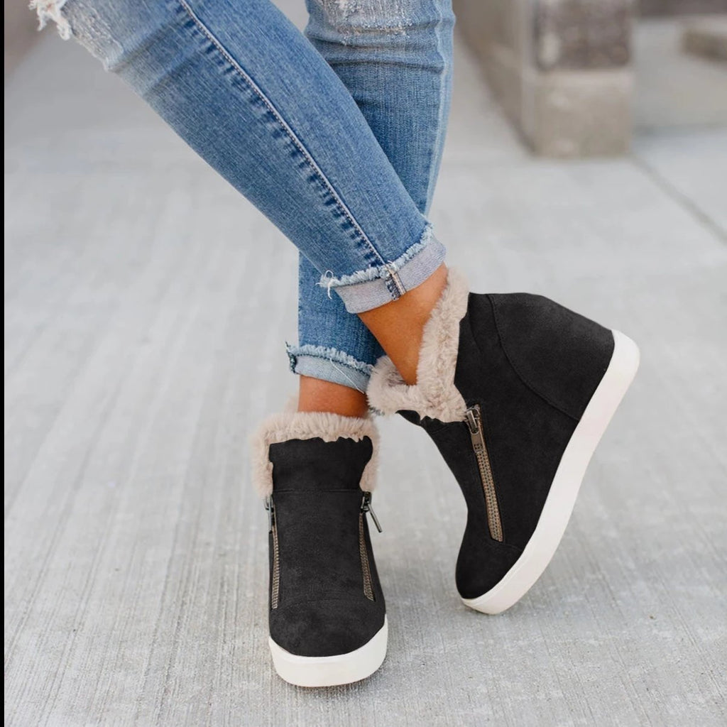 Ulterfashion Warm Zipper Sneakers Platform Wedges