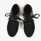 Ulterfashion Womens Hollow Out Animal Print Lace Up Sneakers