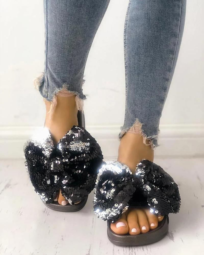 Ulterfashion Womens Sequins Bow Slides Sandals