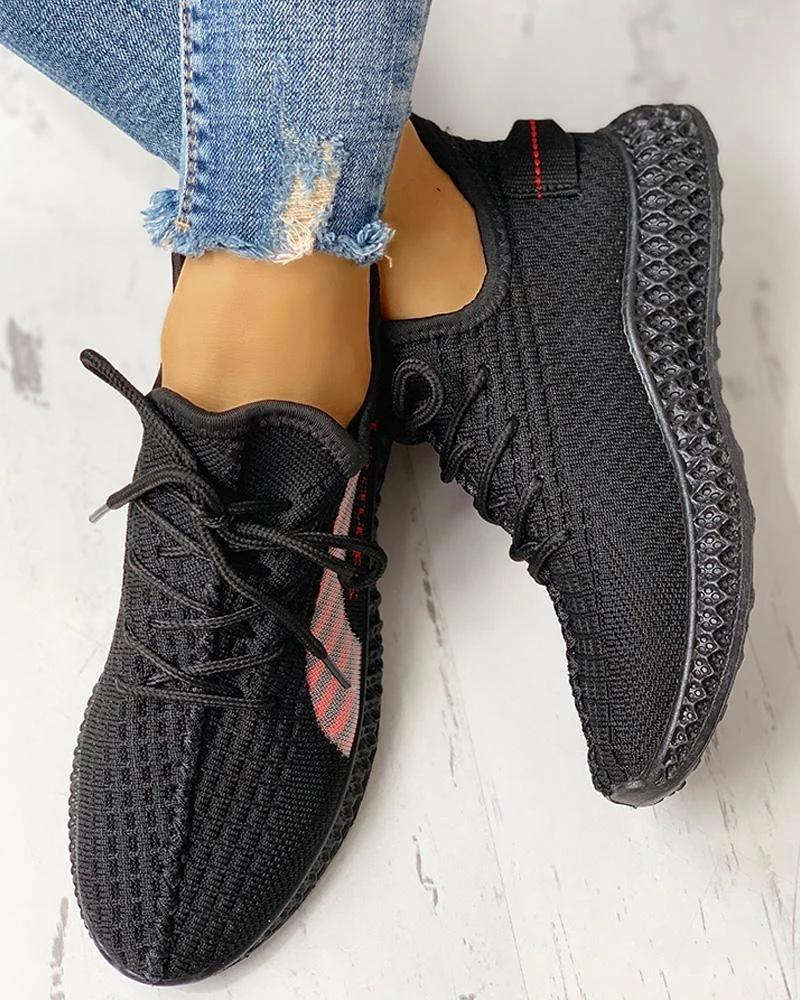 Ulterfashion Breathable Letter Printed Yeezy Stitching Color Lace Up Sneakers