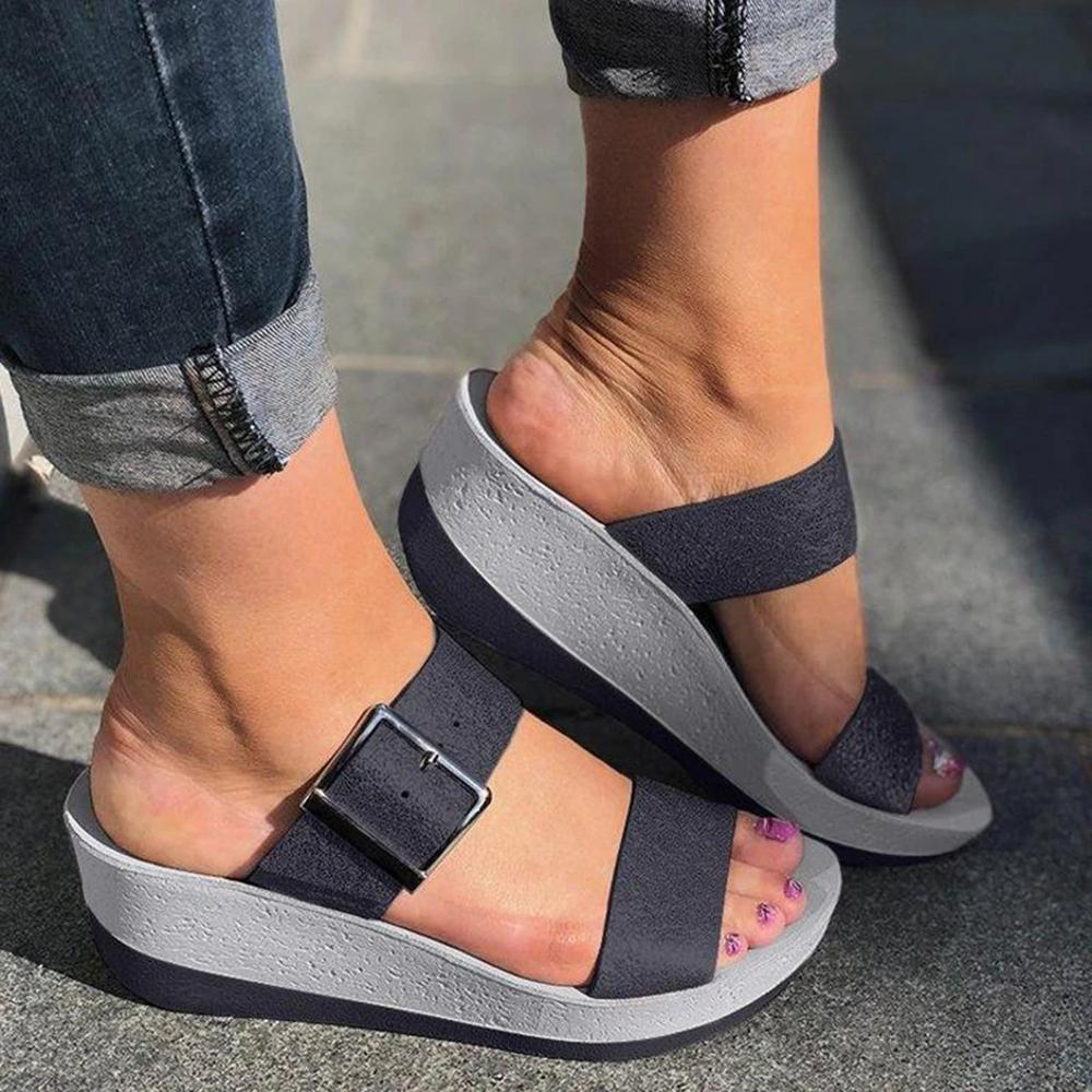 ulterfashion Womens Slip On Buckle Casual Summer Wedge Sandals Slides