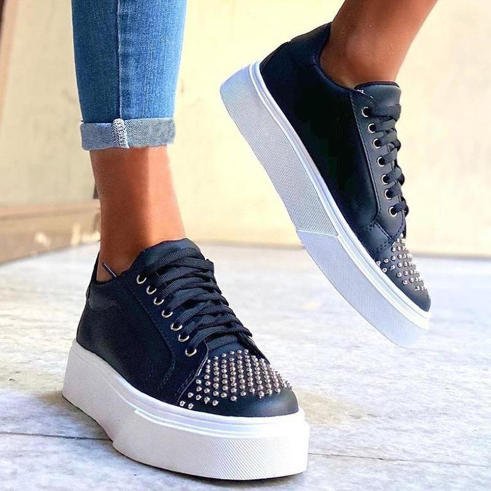Ulterfashion Studded Lace-up Platform Casual Shoes