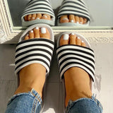 Ulterfashion Striped Single Strap Open Toe Flat Sandals