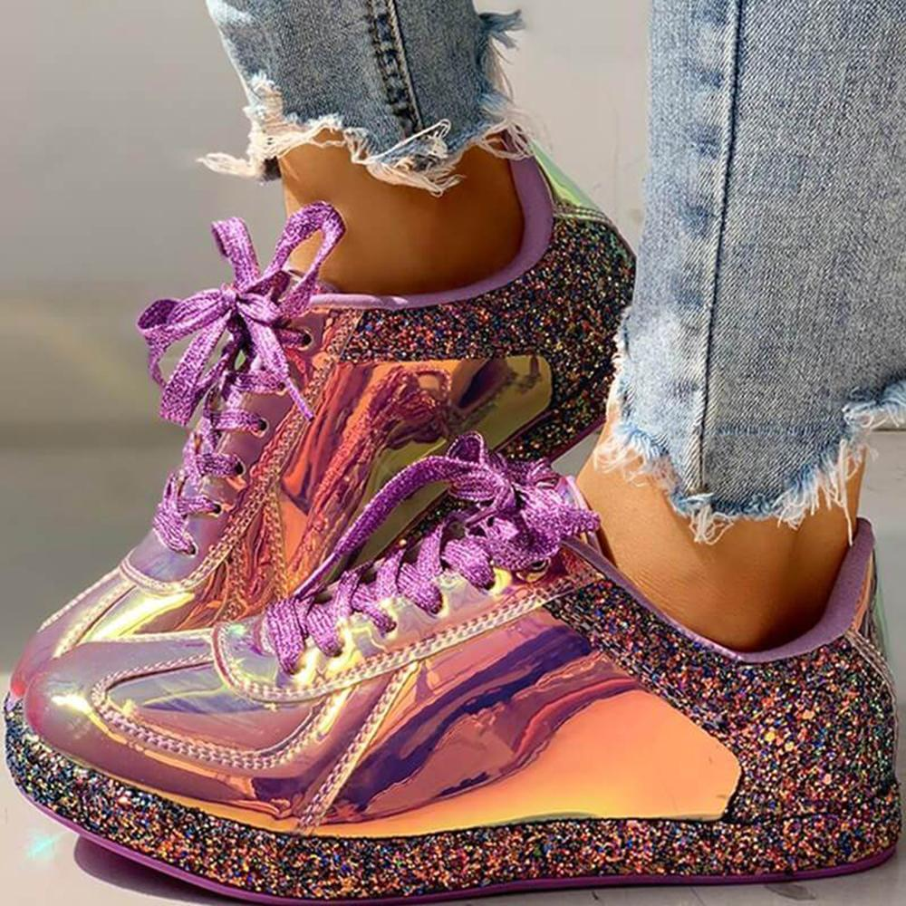 Ulterfashion Women's Lace Up Laser Fashion Sneakers