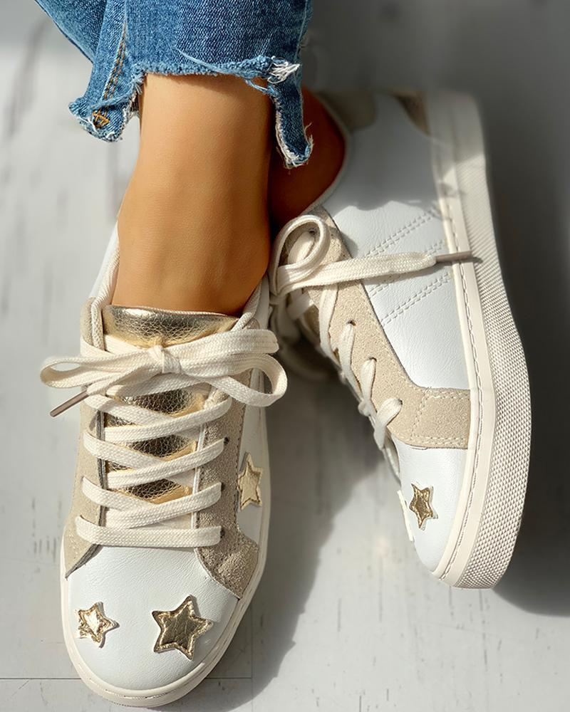 Ulterfashion Womens Star Lace up Fashion Sneakers