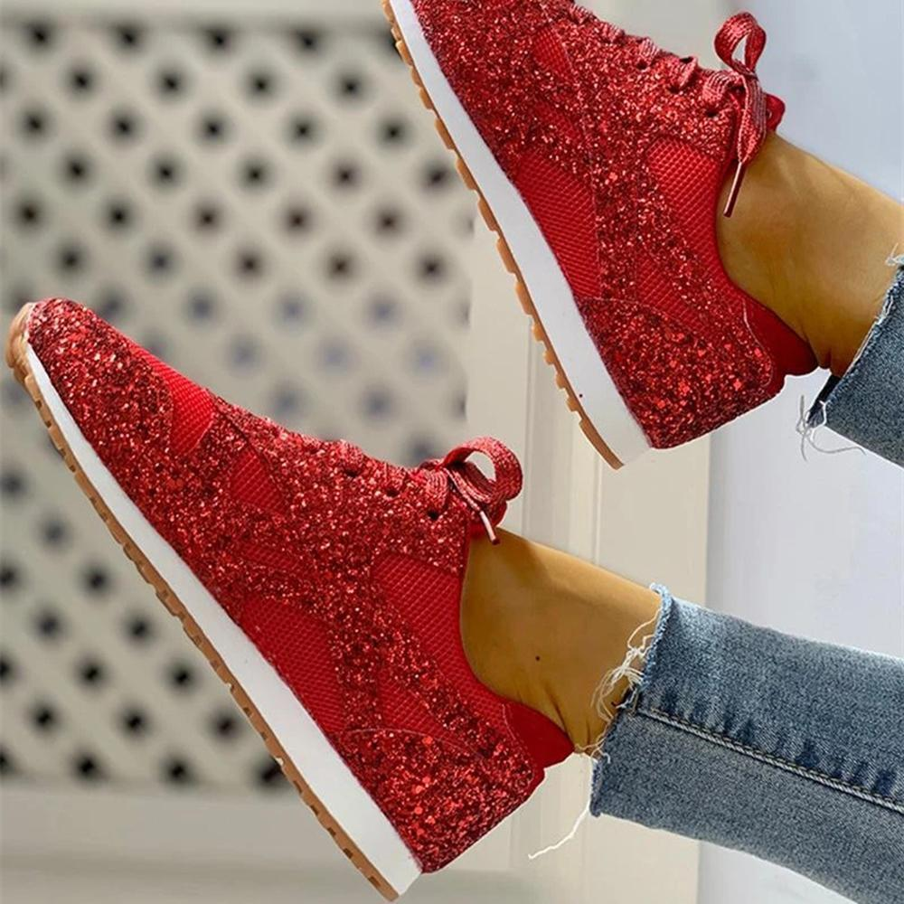 Ulterfashion Womens Glitter Encrusted Lace up Fashion Sneaker