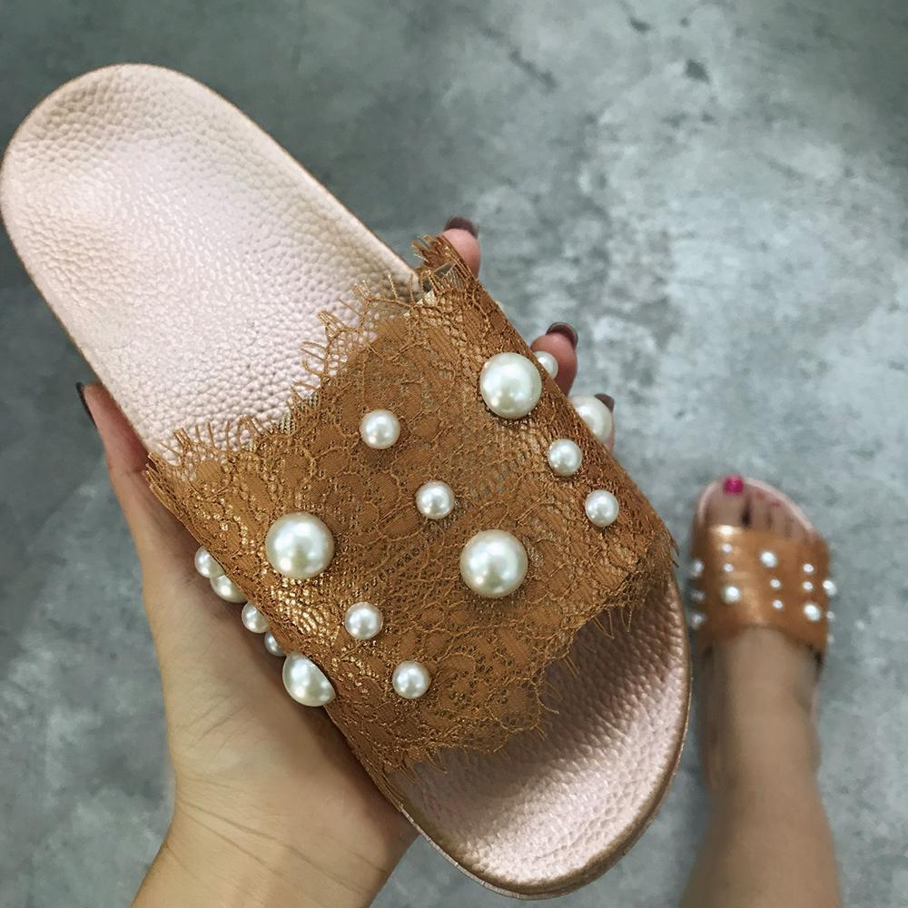 Ulterfashion Womens Pearl Lace Decoration Summer Slides