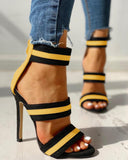 Ulterfashion Striped Point Open Toe Stilettos Strappy Sandals