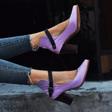 Ulterfashion Women's Ankle Strap Pointed Toe Block Heel Pumps