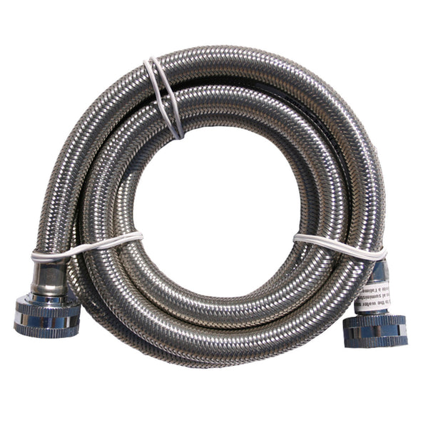 1ft 12 stainless steel braided washing machine inlet hose female. Black Bedroom Furniture Sets. Home Design Ideas