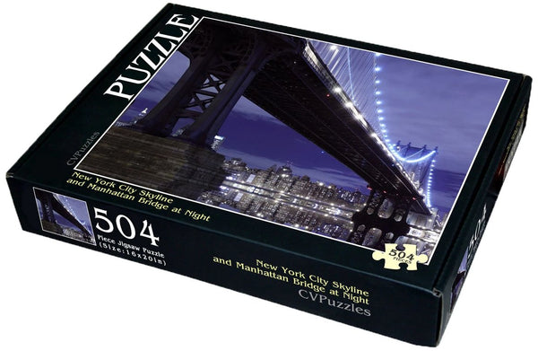 "New York City Skyline and Manhattan Bridge at Night 504 Piece 16"" X 20"""