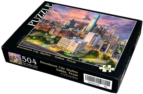 "Downtown City Skyline - Dallas, Texas 504 Piece 16"" X 20"""