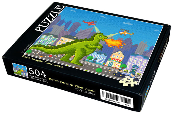 "Retro Dragon Pixel Game 504 Piece 16"" X 20"""