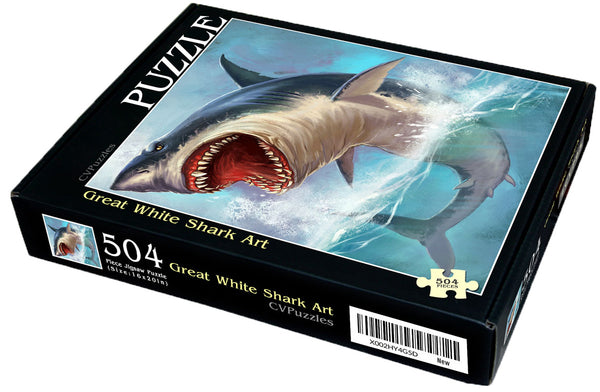 "Great White Shark Art 504 Piece 16"" X 20"""