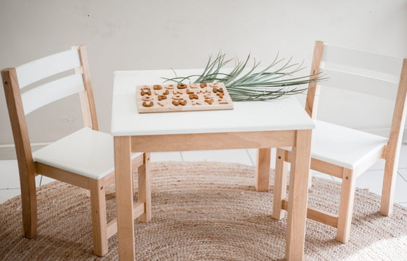 White Top Timber Table with 2 Matching Chairs