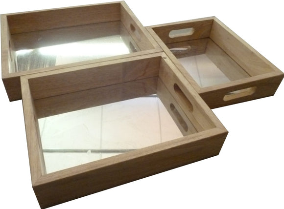 Rectangular Mirror Trays Set of 3