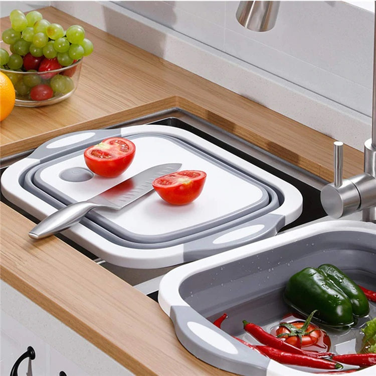 3 in 1 Multi functional Kitchen Foldable Cutting, Chopping Board, Collapsible Dish Tub