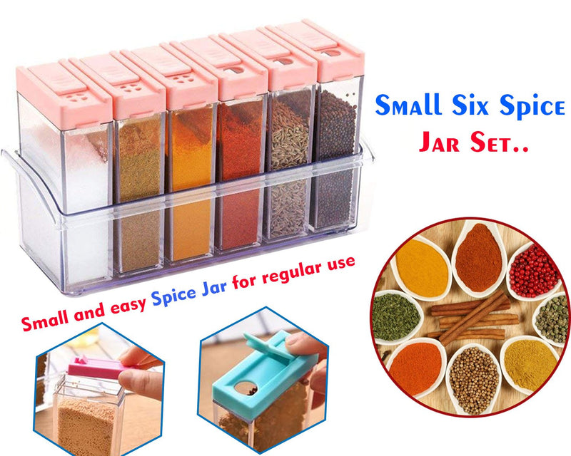 6 Spice Jar set,Plastic Spice Jars Dispenser Easy Flow Storage