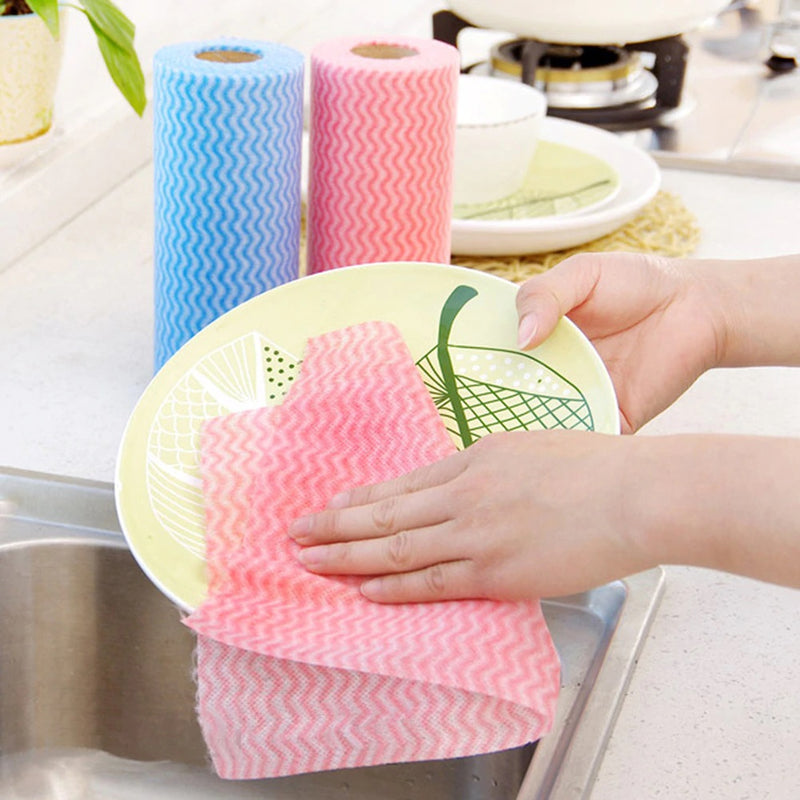 Reusable 40 Napkins Cleaning Cloths Household Rag ( Non - Woven )