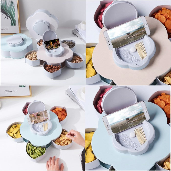 5 Compartments Flower Candy Box Serving Rotating Box for Home & Kitchen