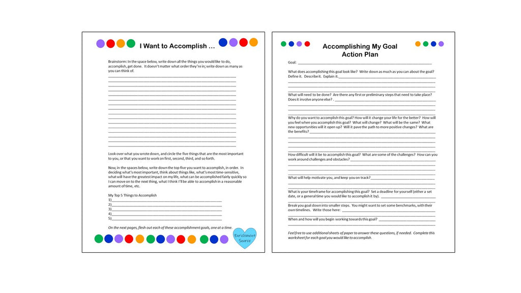 accomplishment, goal setting worksheets