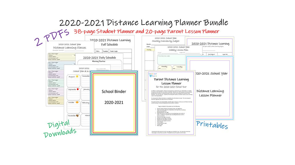 2020-2021 distance learning planner bundle