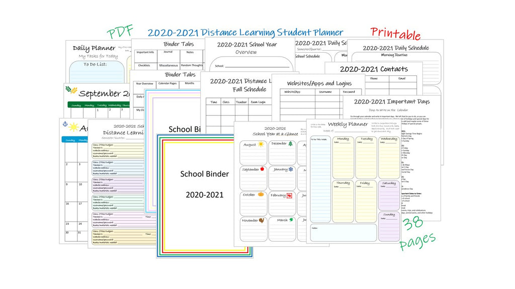 2020-2021 distance learning student planner