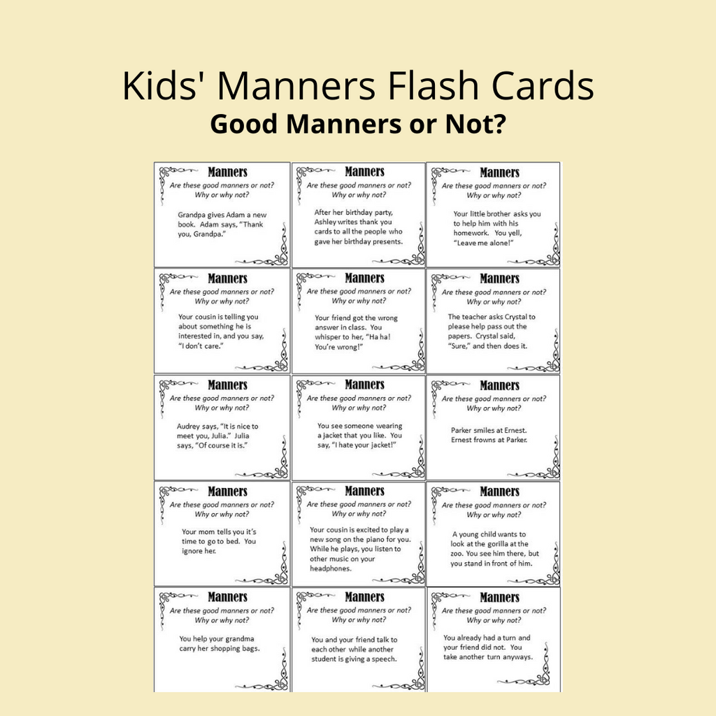 good manners flasch cards