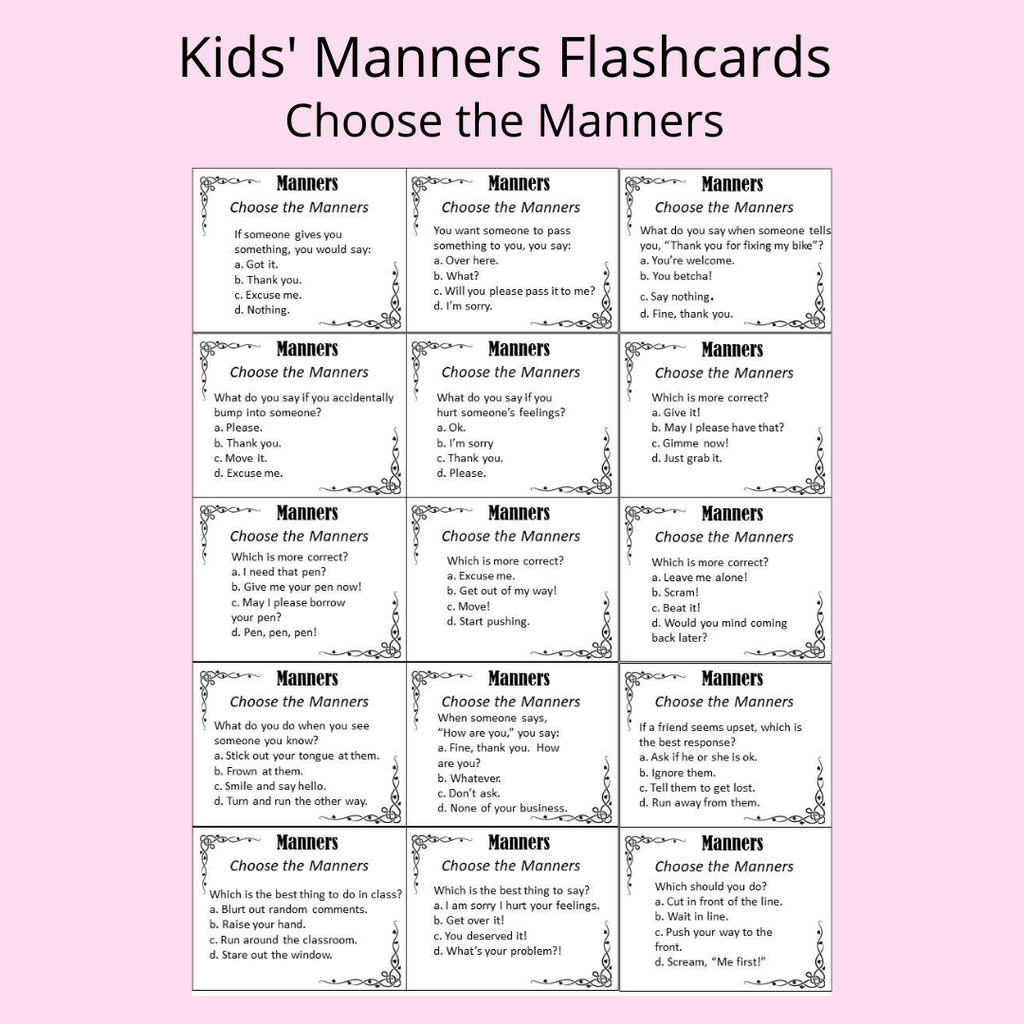 manners flash cards printable